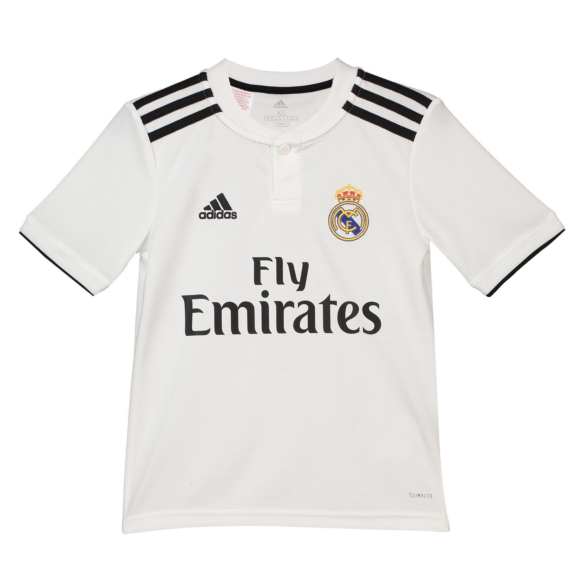 4d2fe4ae6bb Real Madrid Football Home Jersey Shirt Tee Top 2018 19 Kids adidas ...