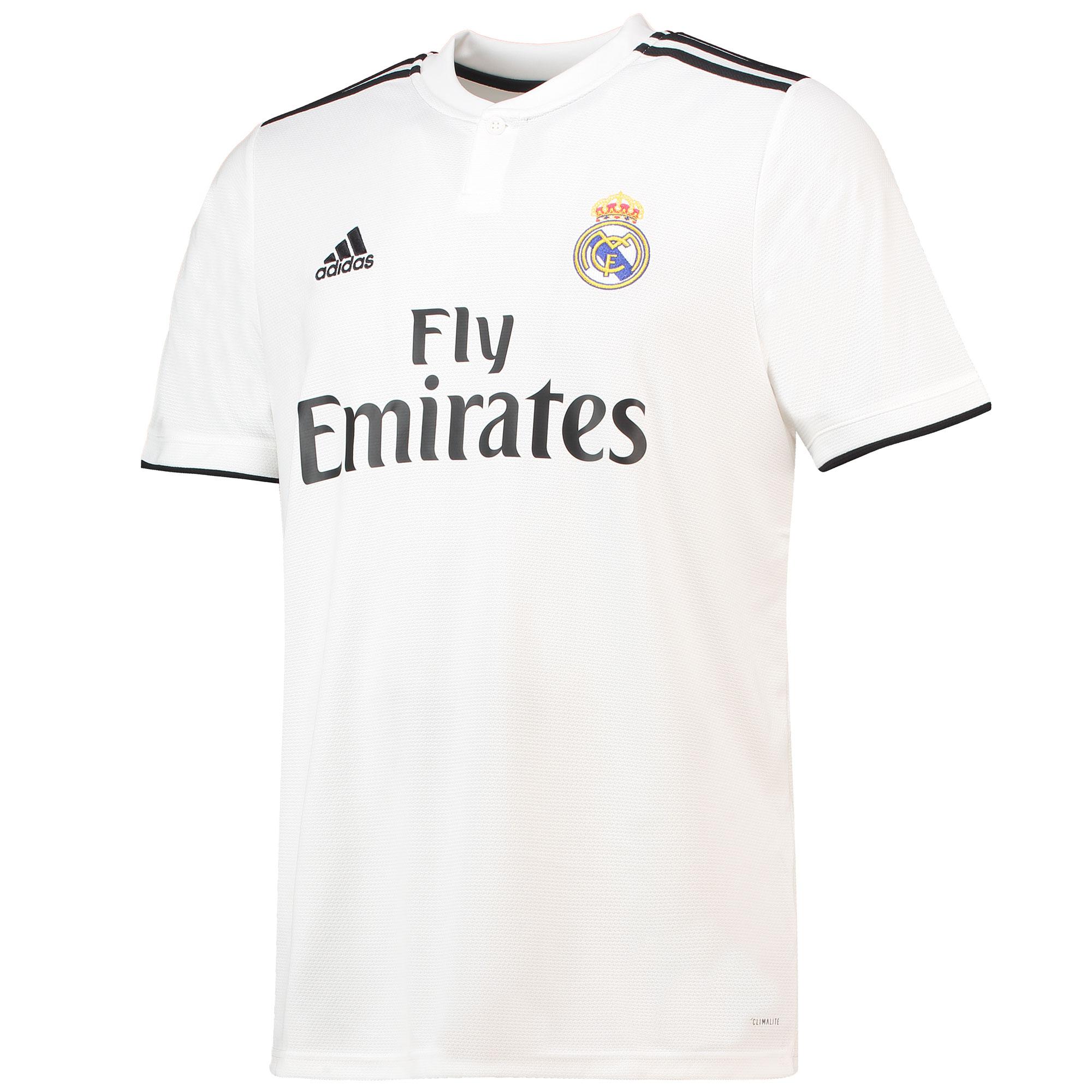 Détails sur Real Madrid Football Home Jersey Shirt Tee Top 2018 19 Homme Adidas afficher le titre d'origine